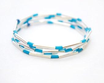 Silver Memory Wire Bracelet, Silver Jewelry, Blue Rubber Bracelet, Women's Silver Bracelet