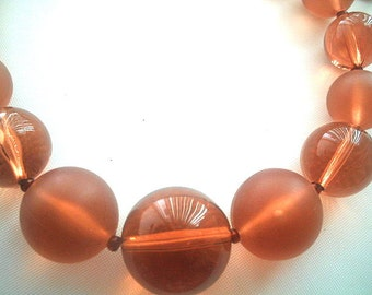 Lucite Bead Necklace Frosted & Translucent Peach Color Beads Graduated Single Strand 23 - 25.5 Inches