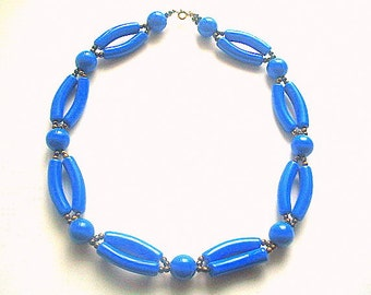 Lucite Macaroni Bead Necklace Royal Blue 19 Inches MOD 1960s