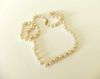 Cream Color Faux Pearl Necklace Sterling Clasp