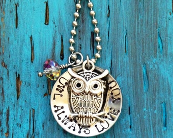 "Handcrafted Metal Stamped Stainless Steel ""Owl Always Love You"""