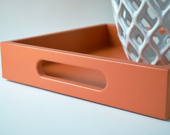 Orange 12 x 12 Lacquered Serving Tray - Wood Ottoman Tray - Decorative Coffee Table Tray