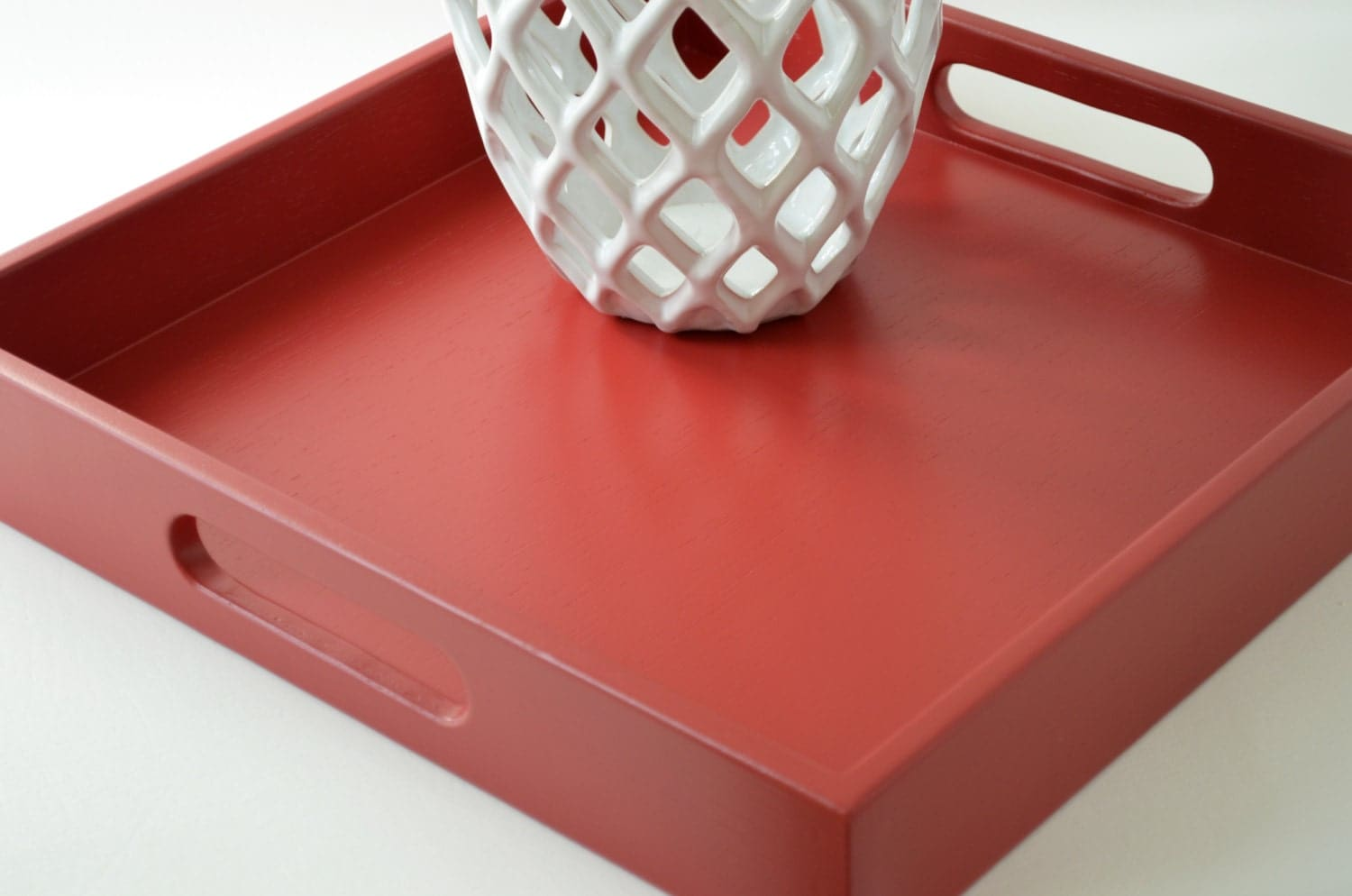 Cranberry Red 16 X 16 Square Serving Tray Wood Ottoman Tray