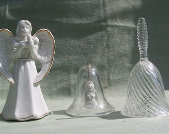 Trio  of Glass Angel Bells