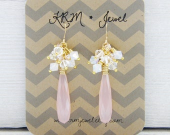 Blush Pink and Gold Swarovski Crystal and Chalcedony Cluster Dangle Earrings Light Rose White Opal Bridesmaid Wedding Bridal