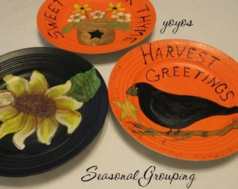 HANDPAINTED PLATE TRIO Crow Harvest Sun FlowerThyme Orange Black Yellow Home Décor