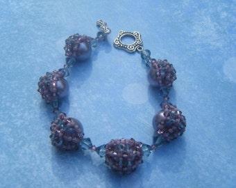 Crystal-netted Pearl Bracelet
