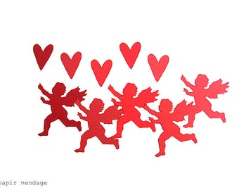 25 pcs. Cupid & Heart Cuts, Valentine Decorations, Cupid Decorations, Valentine Party Decor, Cupid and Hearts