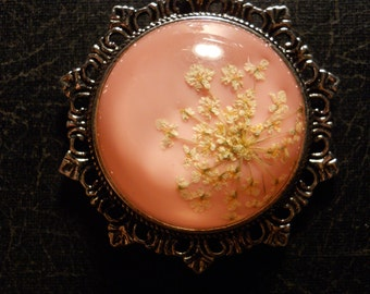 Pink and White Queen Annes Lace Preserved Specimen Necklace