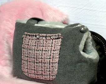 Dog Carrier Bag Light Pink and Grey