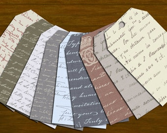 Handwriting Tags - Set of 9 - Instant Download Printable Tags Ephemera Digital Collage Sheet