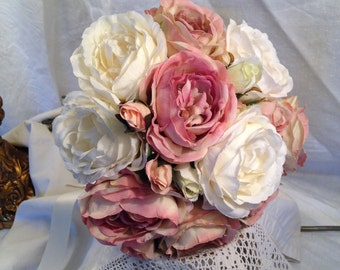 Artificial Wedding Bouquet Pinkk White Vintage Roses Arrangement