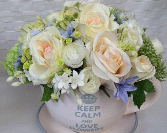 Artificial Keep Calm and Love Flowers Rose Arrangement