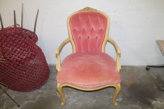 Vintage Tufted Pink Velvet Chair Victorian By Feelinvintage