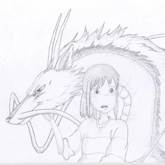 Chiro y Haku, Chihiro Anime. Manga, Ilustración, dibujo a lápiz Kawaii por