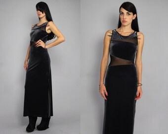 Vtg 90s Grey Velvet Mesh Cut Out Futuristic Maxi Dress M