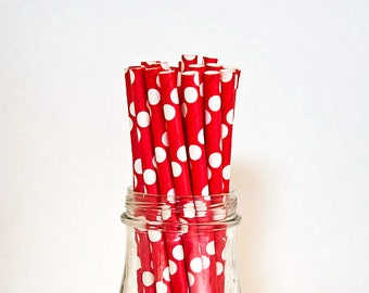 25 Red Polka Dot Paper Straws Vintage Style Carnival Circus Wedding Birthday Bridal Baby Shower W/ Printable Flags Ready to Ship
