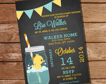 Mason Jar Rubber Duck Baby Shower Invitation - Instant Download + Editable File - Personalize with Adobe Reader - Print at Home!