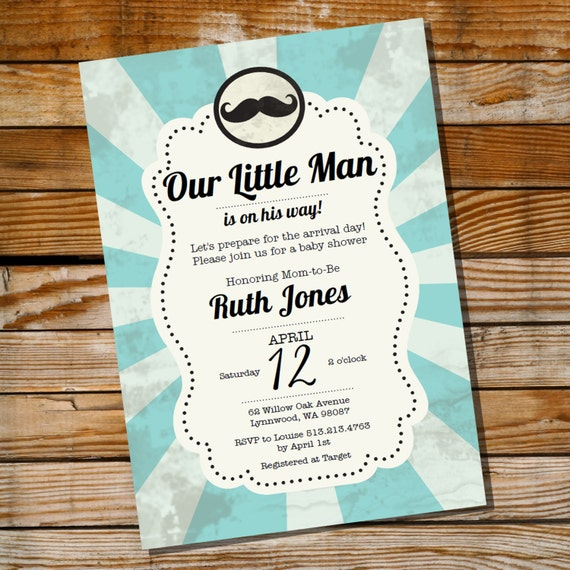 Little Man Mustache Baby Shower Invitation for a Boy  Instantly