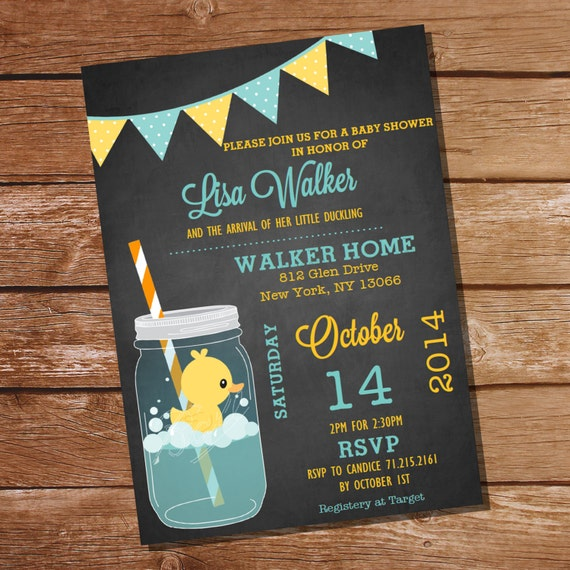 mason jar rubber duck baby shower invitation instant download