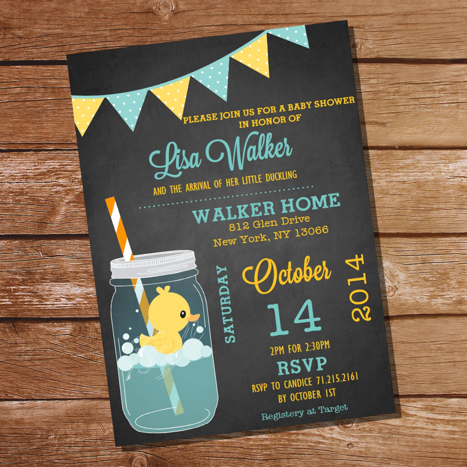 Mason Jar Rubber Duck Baby Shower Invitation Instant