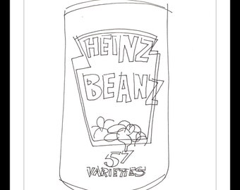 """Original Illustration.""""Beanz Meanz Heinz"""" - Pen and ink blind contour line drawing of a tin of Heinz baked beans. A4"""