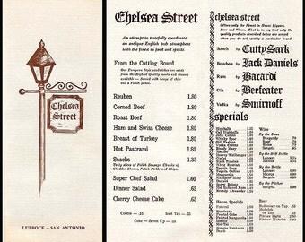 Chelsea Street English Pub Menu Lubbock San Antonio Texas