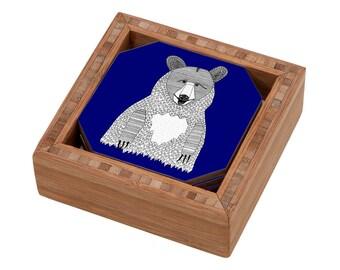 Blue Bear Coaster Set, Bear Drink Coasters,Blue Coasters,  Bamboo Coasters, Bamboo Decor, Cute Coasters, Blue Decor, Modern Coasters