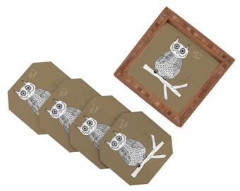 Brown Owl Coaster Set, Owl Drink Coasters, Kids Owl Coasters, Bamboo Coasters, Bamboo Decor, Brown Decor, Owl Coasters, Owl Decor