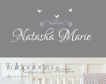 Girls name wall decal - butterfly wall decal - custom name wall decal - girls bedroom decal