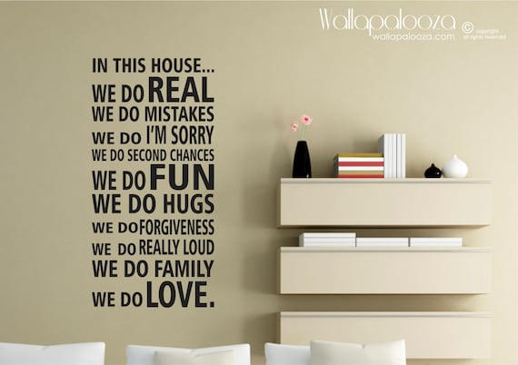 In This House We Do Rules wall decal