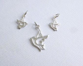 Set of One Small Sterling Silver Dove and Two Mini Charms -- 3 piece set... Bird Pendants