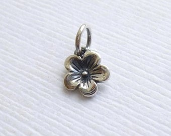 Sterling Silver Cherry Blossom Flower Charm -- 1 Pieces -- Tiny Pendant