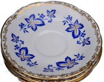 Royal Tara China Blue Gold Saucers Ireland Bone China Vintage Blue and Gold China, Tea Party Decor Floral Leaf Plates