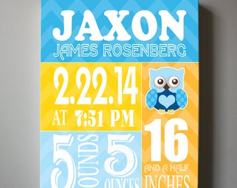 "Baby Gift - Baby Birth Announcement Canvas Print 10"" x12"" ,Boy's Nursery Canvas Art , Personalized Wall Hanging, Boy's Room Decor, Owl"