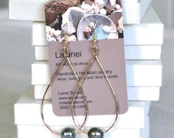 Kahiki teardrop earrings- Sterling silver, 14k gold-fill, or rose gold fill teardrop earrings with floating or drop Tahitian pearls
