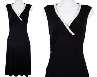 Vintage 80's BYER TOO! Black & White Crochet Sleeveless Maxi Dress S