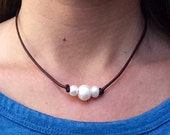 Set of 2 - Triple Pearl Freshwater Pearl Leather Necklaces; Beautiful Freshwater Pearls on a Genuine Leather Cording