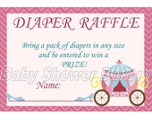 Princess Baby Shower Game, Princess Theme Baby Shower Diaper Raffle Ticket, Printable Baby Girl Diaper Raffle Game Baby Princess Shower Game