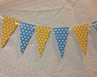 Ready to Ship! Blue and Yellow Star Pennant Garland