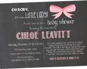 Chalkboard Baby Girl Shower Invitation Pink and Grey, Digital File,  PRINTABLE _1116