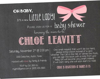 Chalkboard Baby Girl Shower Invitation Pink and Grey, Digital File,  PRINTABLE _1116