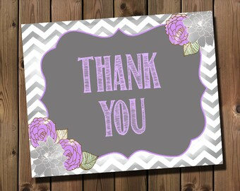 Purple and Grey Thank You Card, INSTANT DOWNLOAD, Digital File, Printable