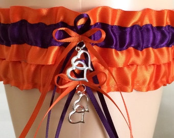 Wedding Garter Set, Bridal Garter Set, Orange and Plum/Purple Garter Set, Keepsake Garter,