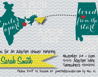 Adoption Baby Shower Invitation (Personalized, DIY, 5X7 Printable)