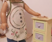 14 pc Laundry Day Set - Upcycled Apron - Laundry Basket - Clothes Pins - American Girl - 18inch Doll