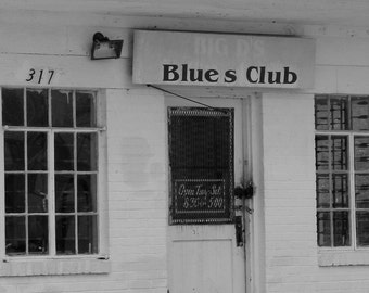 Big D's Blues Club, Fine Art Photograph, Blues Music, Blues Trail, Music Inspired Photo, Black and White Photography
