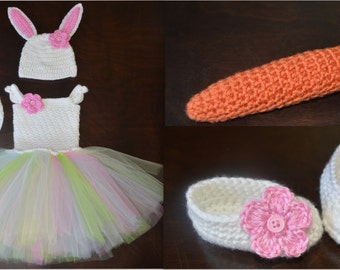Crochet Easter Bunny Baby Tulle Tutu Dress, Matching Hat, Diaper Cover, Shoes & Carrot Photo Prop Custom Made Boy Girl Costume