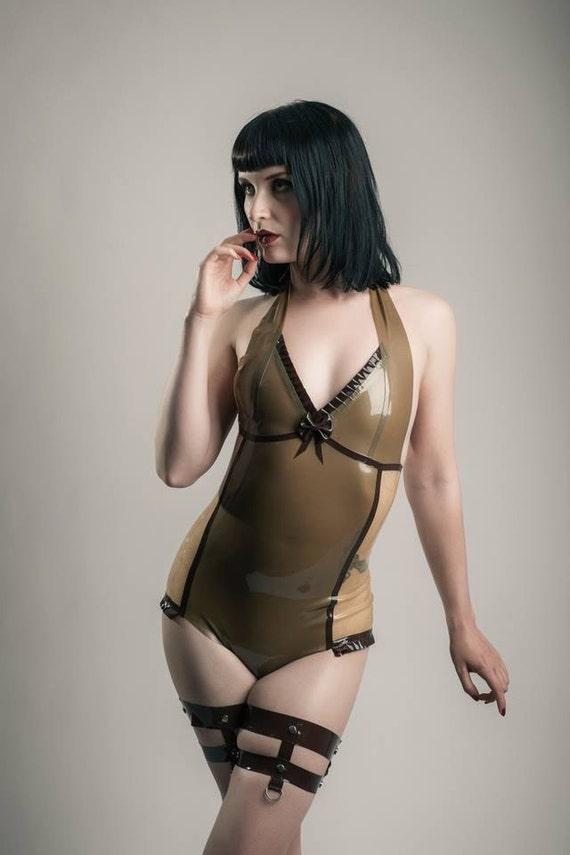 Latex Halterneck Side Panel Body Suit
