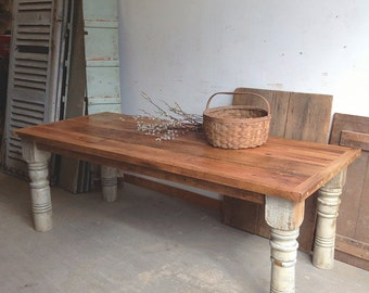 Custom Reclaimed Oak and Pine Farm Table Rustic Barn Wood Traditional Pallet Plank Slab Kitchen Dining